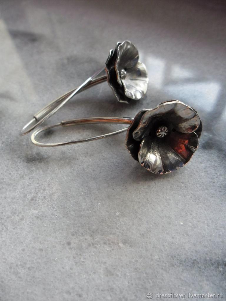 Серьги серебряные Вот такие маки, Серьги, Тольятти, Фото №1