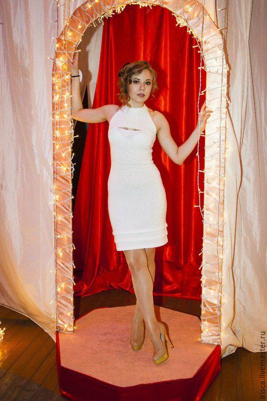 """Платья ручной работы. Ярмарка Мастеров - ручная работа. Купить Вязаное платье """"Шарм"""". Handmade. Белый, платье вязаное"""