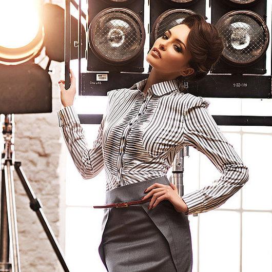 Купить стильную блузку в офис. Одежда для офиса. Купить блузку с длинным рукавом. Ярмарка Мастеров - ручная работа. Дизайнер Лана Морозова