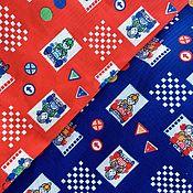 handmade. Livemaster - original item Vintage fabric children`s print cars USSR vintage cotton red blue. Handmade.