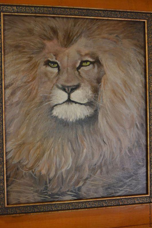Животные ручной работы. Ярмарка Мастеров - ручная работа. Купить Лев. Handmade. Лев, коричневый, животные, портрет, картина недорого
