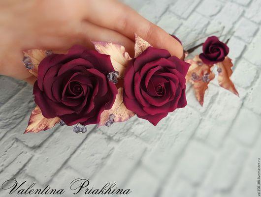Заколки ручной работы. Ярмарка Мастеров - ручная работа. Купить Шпильки с розами цвета марсала. Handmade. Бордовый, шпильки с цветами