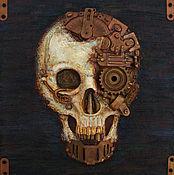 """Картины и панно ручной работы. Ярмарка Мастеров - ручная работа Стимпанк - панно """"Череп"""" 5 (Франкенштейн). Handmade."""