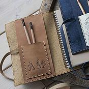 Канцелярские товары handmade. Livemaster - original item Personalized Leather Journal Notebook or Sketchbook, Rustic Brown. Handmade.