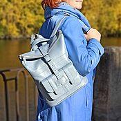 Сумки и аксессуары handmade. Livemaster - original item Backpacks: Leather bag backpack women`s blue Aliz Mod SR54-171. Handmade.