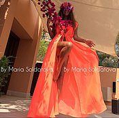 Одежда ручной работы. Ярмарка Мастеров - ручная работа Длинная Туника , апельсин. Handmade.