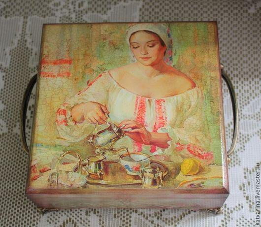 """Кухня ручной работы. Ярмарка Мастеров - ручная работа. Купить Шкатулка для чая """"Прошу к столу"""". Handmade. Чайная коробка"""