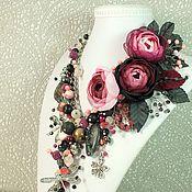 Украшения handmade. Livemaster - original item garden dusky rose. Necklace made of natural stones, three brooches flower. Handmade.