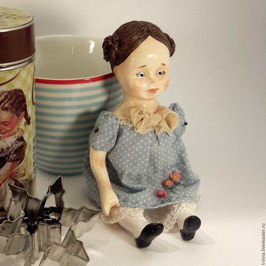 Коллекционные куклы ручной работы. Ярмарка Мастеров - ручная работа. Купить Куколка болтушка Марта.. Handmade. Голубой, кукла в подарок