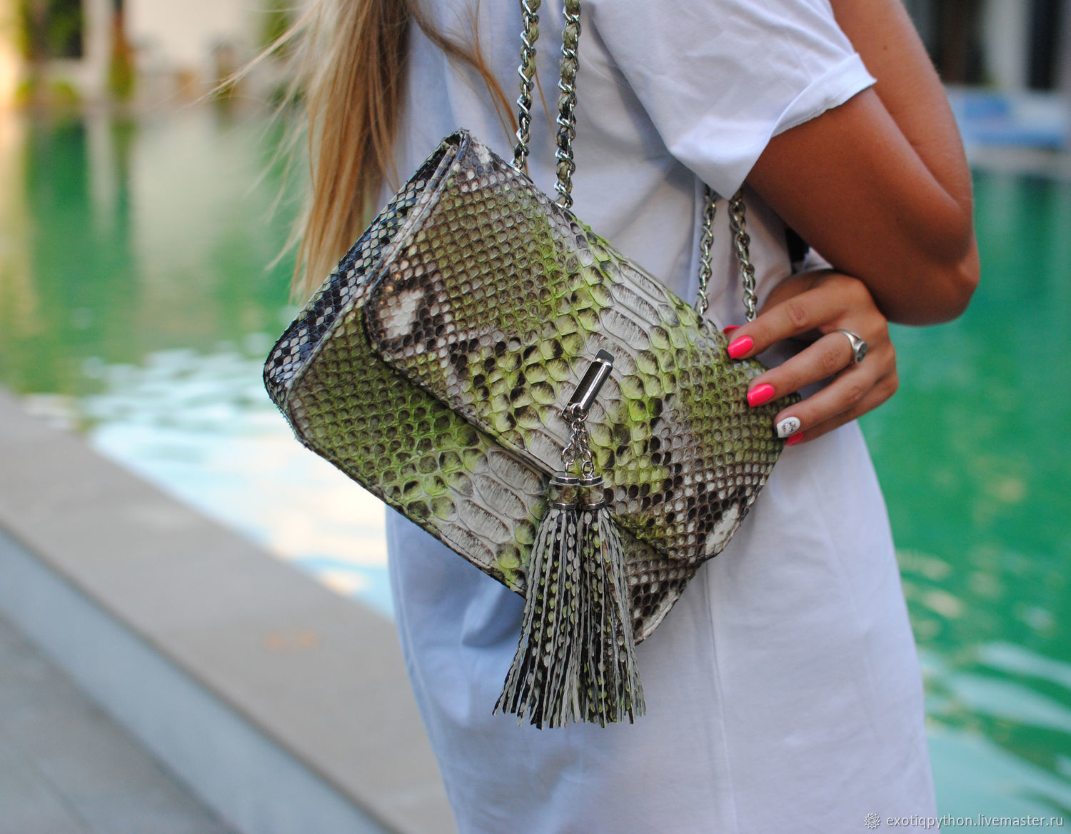 Python skin bag Lime Fresh, Classic Bag, Moscow,  Фото №1