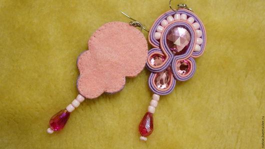 """Серьги ручной работы. Ярмарка Мастеров - ручная работа. Купить Сутажные серьги """"Розовый сон"""". Handmade. Розовый, сутажные серьги"""