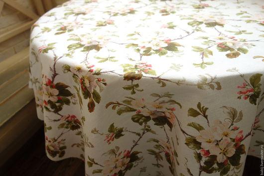 """Текстиль, ковры ручной работы. Ярмарка Мастеров - ручная работа. Купить Скатерть """"Яблоневый цвет"""" на белом. Handmade. Скатерть на стол"""