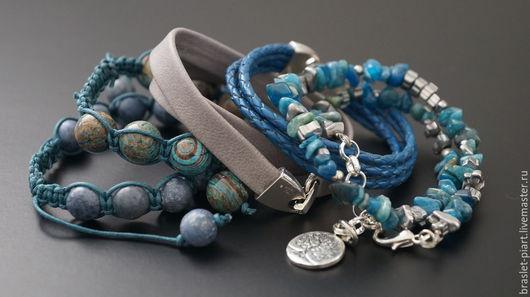"""Украшения для мужчин, ручной работы. Ярмарка Мастеров - ручная работа. Купить Комплект браслетов """" FreeStyle- BlueMarine"""" .. Handmade. подарок"""