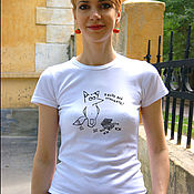 T-shirts handmade. Livemaster - original item T-shirt with a Fox-a gift for a sweet tooth on March 8 or birthday. Handmade.