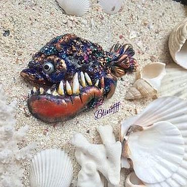 """Украшения ручной работы. Ярмарка Мастеров - ручная работа Брошь """"Очень дикая рыба"""" полимерная глина. Handmade."""