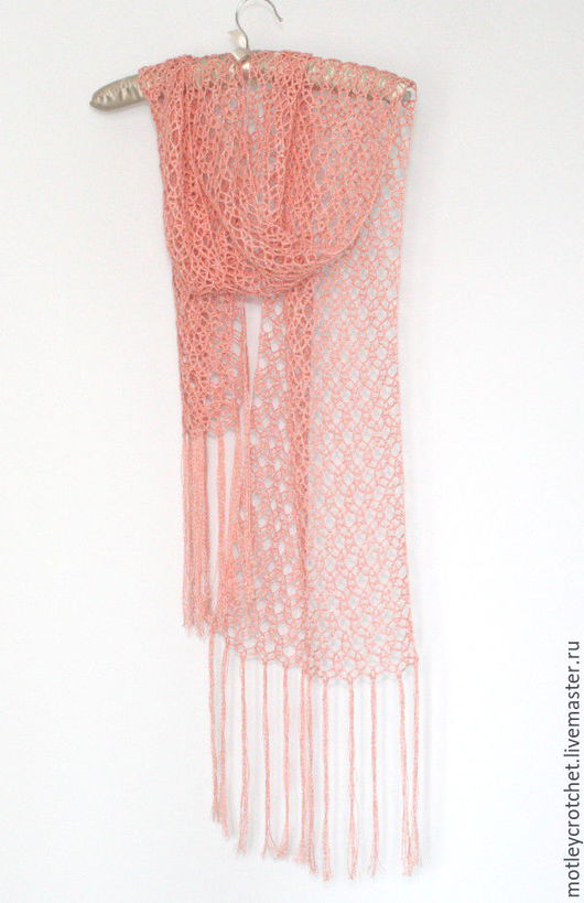 летний палантин, летний шарф, шарф с бахромой, палантин с бахромой, палантин их хлопка, ажурный шарф из хлопка, лето 2016, коралловый цвет,