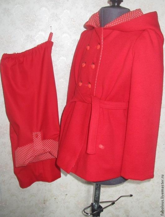 """Одежда для девочек, ручной работы. Ярмарка Мастеров - ручная работа. Купить Комплект """"Охотничий"""". Handmade. Ярко-красный, одежда для детей"""