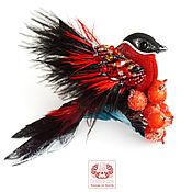 Украшения handmade. Livemaster - original item Brooch-bird made of leather