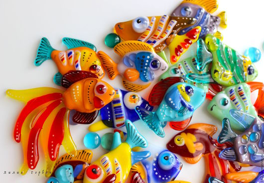 Surface Decor handmade. Livemaster - handmade. Buy decor glass fusing Fish.Glass, mirror, glass