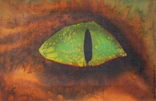 Фантазийные сюжеты ручной работы. Ярмарка Мастеров - ручная работа. Купить Картина Взгляд. Шелк, батик. Handmade. Зелено-коричневый