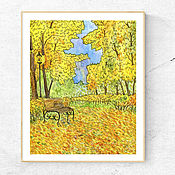Картины и панно handmade. Livemaster - original item Painting for home Autumn in the park Painting Autumn landscape watercolor. Handmade.