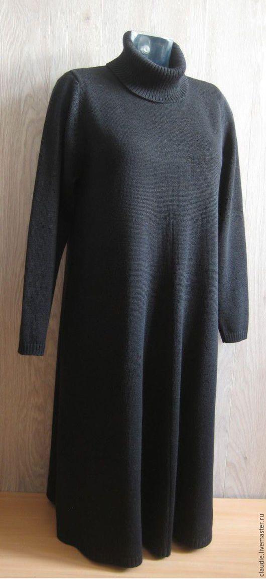 """Большие размеры ручной работы. Ярмарка Мастеров - ручная работа. Купить Вязаное платье """"Власта"""". Handmade. Черный, эксклюзивное исполнение"""