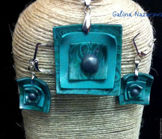 Кулоны, подвески ручной работы. Ярмарка Мастеров - ручная работа. Купить Квадратный кулон и серьги из полимерной глины. Handmade.