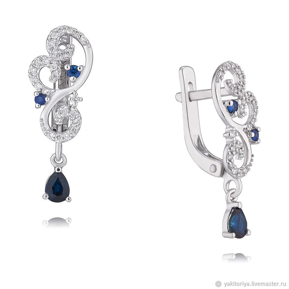 585 gold earrings with sapphires and diamonds, Earrings, Moscow,  Фото №1
