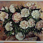 Картины и панно ручной работы. Ярмарка Мастеров - ручная работа Пионы бело-розовые большие. Handmade.