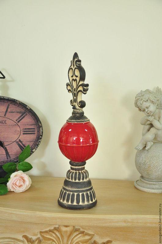 Декупаж и роспись ручной работы. Ярмарка Мастеров - ручная работа. Купить Статуэтка Лилия на красном шаре,  для декора в стиле Прованс. Handmade.