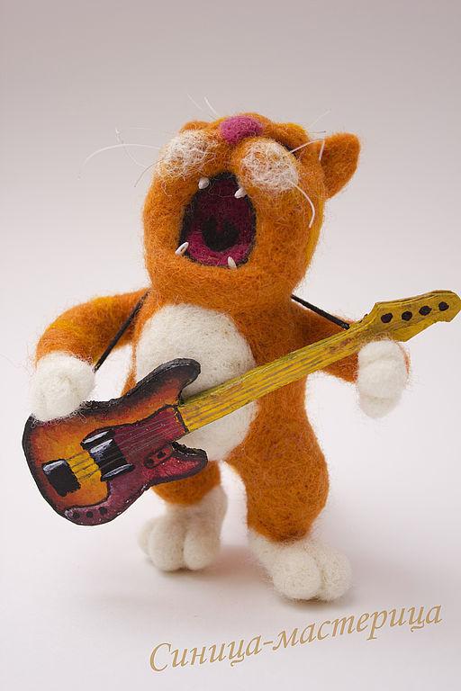 Игрушки животные, ручной работы. Ярмарка Мастеров - ручная работа. Купить РокоКот (рыжий кот музыкант, игрушка, сухое валяние). Handmade.