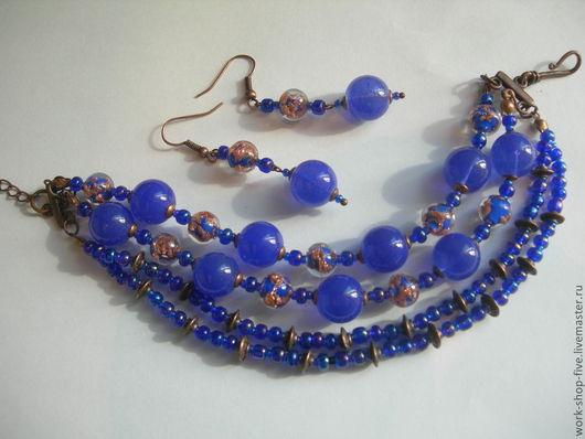 Комплекты украшений ручной работы. Ярмарка Мастеров - ручная работа. Купить Комплет с лэмпворком «Синее, синее море». Handmade.