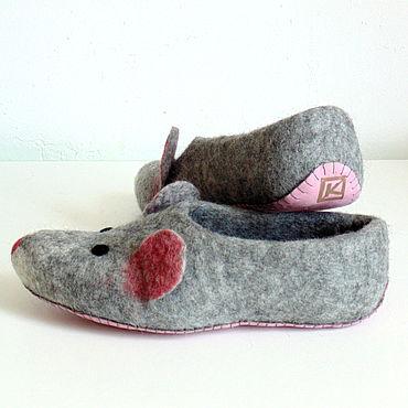 Footwear handmade. Livemaster - original item Mouse-Slippers, ready pair 40 p.. Handmade.