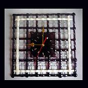 """Для дома и интерьера ручной работы. Ярмарка Мастеров - ручная работа Часы настенные """"Сетка"""" из стекла.. Handmade."""