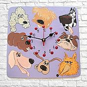 Для дома и интерьера handmade. Livemaster - original item Children`s wall clock Dog - guess the breed!. Handmade.