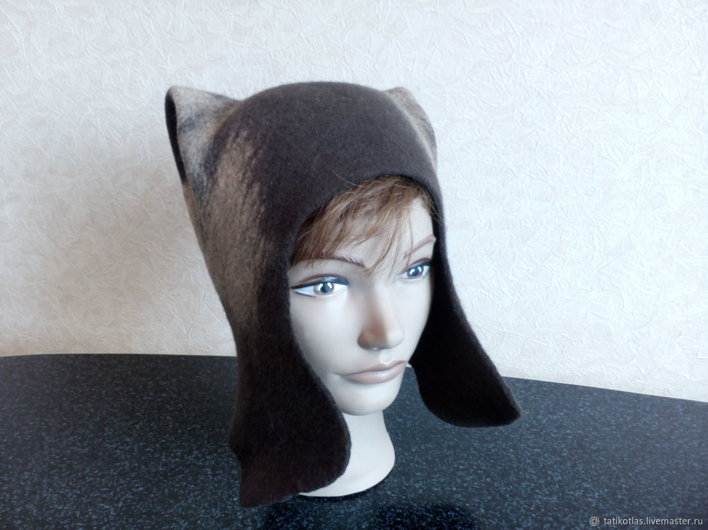 Ushanka-helmet 'Siamka' felted, Hat with ear flaps, Kotlas,  Фото №1