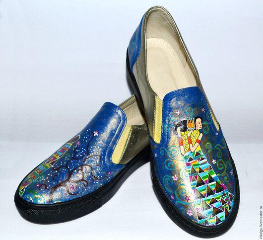 Обувь ручной работы. Ярмарка Мастеров - ручная работа. Купить Кожаные слипоны Ожидание весны. Handmade. Слипоны с росписью, Климт