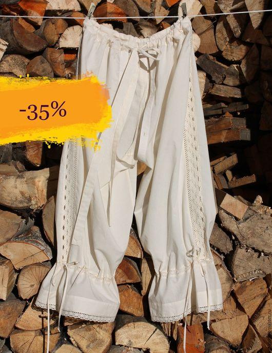 Белье ручной работы. Ярмарка Мастеров - ручная работа. Купить Панталоны из небеленого хлопка,с кружевом .. Handmade. Бежевый, ретро стиль