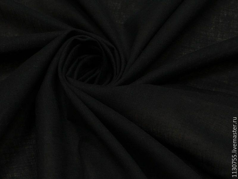 Ткань   хлопок батист черный, Ткани, Москва,  Фото №1