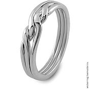 Кольца ручной работы. Ярмарка Мастеров - ручная работа Элегантное серебряное кольцо головоломка от Wickerring. Handmade.