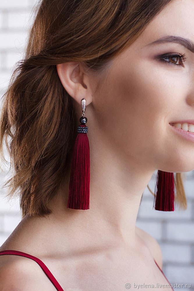 Tassel earrings Bordeaux, handmade, Tassel earrings, Novosibirsk,  Фото №1