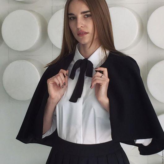 Верхняя одежда ручной работы. Ярмарка Мастеров - ручная работа. Купить Накидка. Handmade. Черный, однотонный, пальто, пальто женское