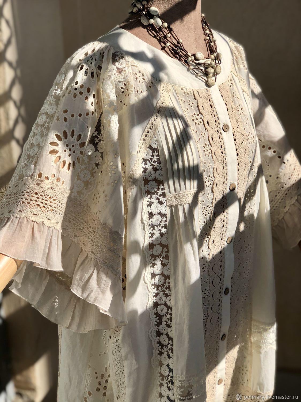 Boho cotton blouse with Adele lace.Cream, Blouses, Tashkent,  Фото №1