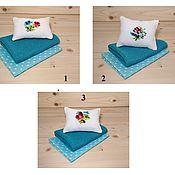 Куклы и игрушки handmade. Livemaster - original item Bed linen for dolls (blue). Handmade.