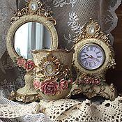 """Набор подарочный """"Антик"""" зеркало, часы, стаканчик"""