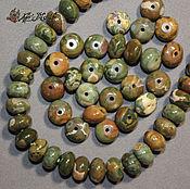 Бусины ручной работы. Ярмарка Мастеров - ручная работа Бусины рондели, яшма зеленая, 9,5х7 мм (натуральный камень). Handmade.