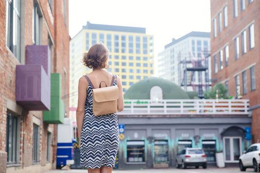Рюкзаки ручной работы. Ярмарка Мастеров - ручная работа. Купить Кожаный рюкзак CITY MINI бежевый. Handmade. Бежевый, РЮКЗАКИ
