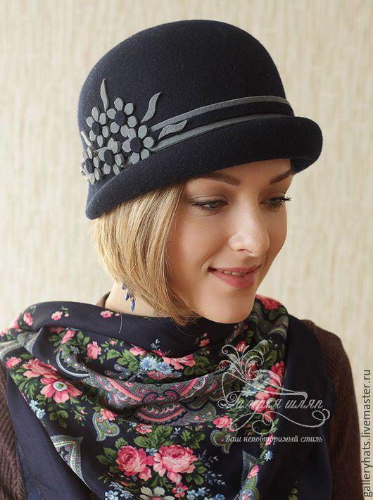 Шляпы ручной работы. Ярмарка Мастеров - ручная работа. Купить шляпка - Агнета  из темно синего фетра. Handmade. Однотонный, шляпка