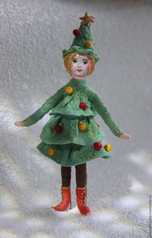"""Человечки ручной работы. Ярмарка Мастеров - ручная работа. Купить Ёлочная игрушка из ваты """"Девочка  Ёлочка"""". Handmade. Зеленый"""
