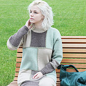 Одежда handmade. Livemaster - original item Warm knitted women`s dress Patchwork handmade wool. Handmade.